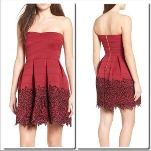 Dresses & Skirts - Red Strapless Embroidered Dress
